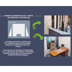 PANTALLA DE METACRILATO ANTI-CONTAGIO 5/6MM DE 100X75 CM